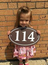 """Oval House Number Sign Address Plaque  14x8.5 1/4"""" King ColorCore Brown/White"""