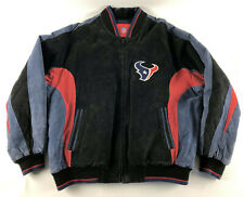 Houston Texans NFL Leather Suede Jacket Black Blue Red Size XXL