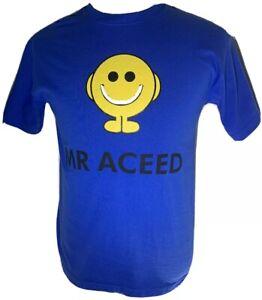 "EL LOCO Mr Men T-Shirt - ""Mr Aceed"" Blue & Yellow Cotton Size Medium Chest 38"""