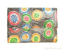 Hand PAINTED Tooled pure goat LEATHER SHANTINIKETAN Women's Clutch Wallet Hippie