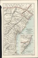 1890 Bartholomew Antique Map of East Coast of Northern Brazil