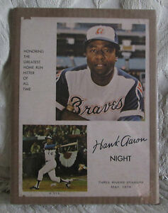 VINTAGE POSTER HANK AARON NIGHT AT THREE RIVERS STADIUM IN MAY OF 1974