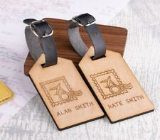 2pcs Personalised Wooden Luggage Tags Mr and Mrs Stamp Custom Tags
