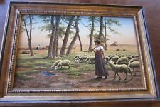 "Large Framed ""Shepherdess"" by Henri LeRolle - Antique Reproduction on Porcelain"