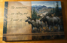 Mountains Are Calling Moose Hunting Lodge Hunter Cabin Wood Home Decor Sign New