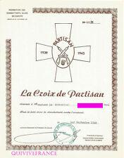 DIPLOME DE LA CROIX DE PARTISAN 1948 FEDERATION DES COMBATTANTS ALLIES EN EUROPE