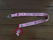 NEW ORLEANS SAINTS  Officially NFL Licensed Pink Key Ring Lanyard ID Holder