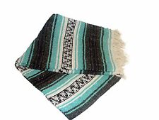 #11 Mint Teal Grey Mexican Falsa Blanket Great Beach Picnic Yoga Open Road Throw