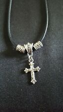 Black Cord and Silver Tone Cross Cord necklace 17-19 inches adjustable