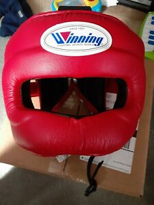 Winning Boxing Headgear FG-5000 Red Full Face head guard size XL/LL Authentic