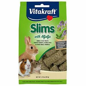 Vitakraft Slims with Alfalfa Rabbit, Guinea Pig & Small Animal 1.76 oz, Green