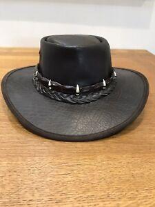 Barmah Squashy Buffalo Leather Hat And Crocodile Skin/Teeth Hat Band, Size Large