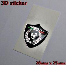 Abarth 3D Logo Aufkleber- Abzeichen Schwarz Hintergrund Chrom-Effekt