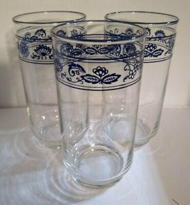 "Three VINTAGE LIBBY Old Town Blue Onion Drinking Glasses Tumblrs 5.75"" Tall HTF"