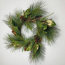"""Mixed Pine Cone Magnolia Leaves Christmas 24"""" Wreath or Wall Decor"""