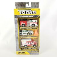Tonka Diecast 3 Pk First Responders Fire Truck Police Car Ambulance Toy Vehicles