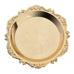 Metal Golden Plates Fruits Holder Tray Serving Dishes for/ Birthday Dinning