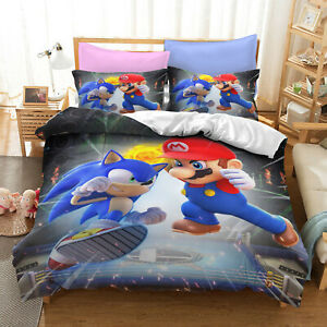 Sonic The Hedgehog PK Mario 3D Print Bedding Set Duvet Quilt Cover Pillowcase W