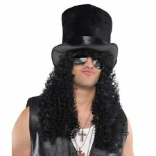 Adult Mens Heavy Rock Rocker Headbanger Slash Top Hat Wig Music Accessory