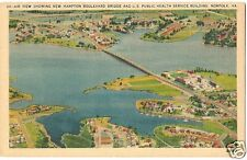 Original Vintage 1930-45 Linen PC- Norfolk VA- New Hampton Boulevard Bridge