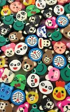 50 ANIMAL FACE BEADS-MONKEY/TEDDY/CAT/FROG/PANDA/DUCK FACES-10MM FIMO BEAD-CUTE