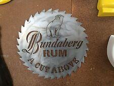 BUNDABERG RUM RARE LARGE HEAVY DUTY PLASMA CUT SIZE SAW BLADE METAL TIN SIGN