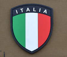 "PVC / Rubber Patch ""Italian / Italia Flag Shield"" with VELCRO® brand hook"