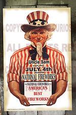 NATIONAL FIREWORKS CO. UNCLE SAM SAYS 1940's FINE ART REPRINT FIRECRACKER POSTER