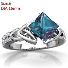 Women Princess Cut 2.8CT Mystic Rainbow Topaz Engagement Ring Size 6,7,8,9,10