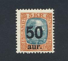 ICELAND 1925, 50a on 5Kr, VF LH Sc#138 CAT$85 (SEE BELOW)
