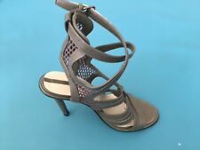 Zara Grey Leather Women Strapy Heels Size 6