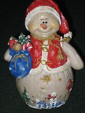 Handcrafted 8 Inch Snowlady with a Blue Bag