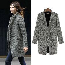 HOT NEW UK Women's Autumn Winter Casual Business Slim Tweed Jacket Oversize Coat