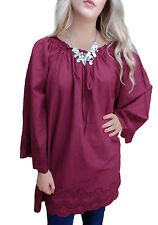 Ladies UK Plus Size 20 - 28 Cotton Long Tunic Tops Broderie Anglaise