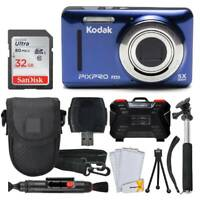 Kodak PIXPRO FZ53 Digital Camera (Blue) + 32GB Card + Monopod + Accessories