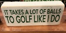 Golf Balls wood Sign 3.5X8 inches, Made In Usa