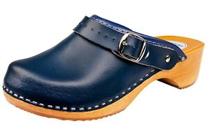 Women's Fashion Clogs Navy Blue Slip On Leather House Shoes Ladies Mules 3-8
