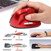 2.4G 2400DPI USB Optical Vertical Wireless Gaming Game Mice Mouse For Laptop PC