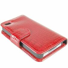 Red Luxury Crocodile Card Slot PU Wallet Leather Cover Case For iPhone 4 4G 4S