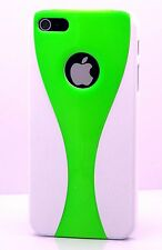 for iphone 5 5s hard back case snap on green n white plus free screen protector