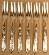 LaVIGNE 1881 ROGERS SILVERPLATE 6 SOLID HANDLE DINNER FORKS 1908