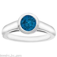 0.88 CARAT ENHANCED BLUE DIAMOND SOLITAIRE ENGAGEMENT RING 14K WHITE GOLD BEZEL