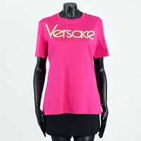 VERSACE 350$ Pink Cotton Crewneck Tshirt With Embroidered Vintage Logo