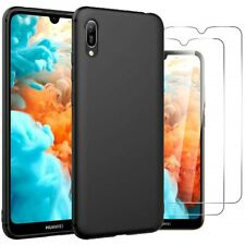 For Huawei Y6 Pro (2019) Case Slim Silicone Cover & Glass Screen Protector