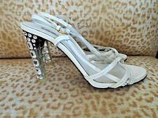 ***MIU MIU Sz 6M patent leather SLINGBACK CRYSTAL HEELS white!!
