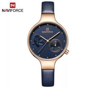 NAVIFORCE Women Fashion Blue Quartz Watch Leather Band High Quality Waterproof