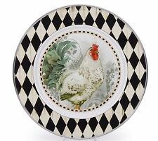 "Golden Rabbit Rooster Royale 10.75"" Enamelware Dinner Plate Chicken Theme"