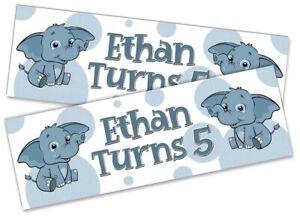 x2 Personalised Birthday Banner Elephant Children Kids Decoration Poster 13