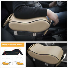 Beige Leather Sponge Car Center Console Box Armrest Pad Heighten Cushion Support