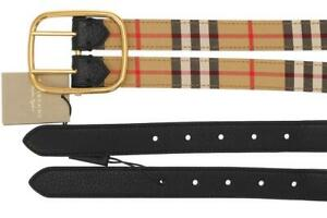 NEW BURBERRY LYNTON DOUBLE STRAP LEATHER CHECK WIDE BELT 90/36